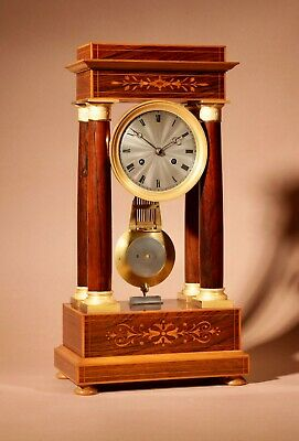 Stylish Charles X Rosewood Inlaid With Lemon Wood and Ormolu Portico clock