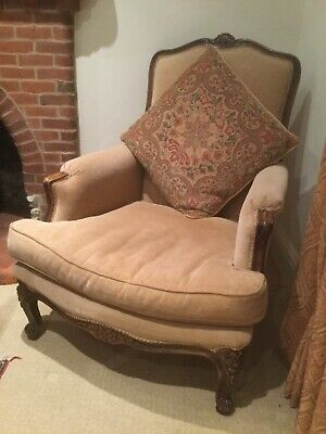 Pair of late French 19TH Cent Carved Walnut Armchairs With Cushions