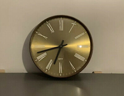 "Vintage Gents of Leicester 9"" Gilt Face Brass Case Wall Clock"