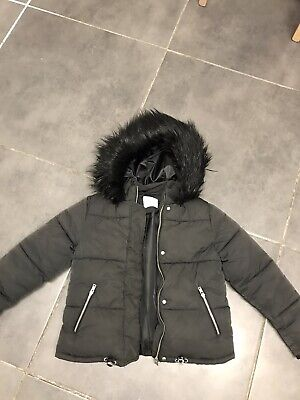 Girls Winter Padded Coat NEXT Black Faux Fur Hood Age 11 Years