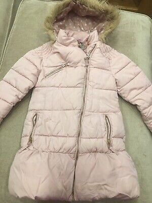 Girls Next Pale Pink Winter Coat Age 5-6, Good condition