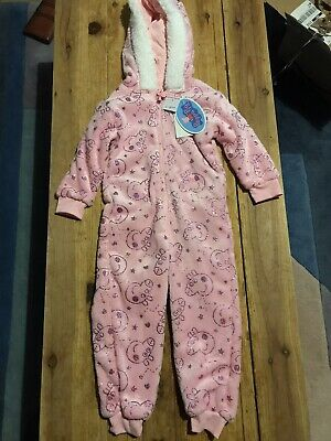 Bnwt Pink Peppa Pig Fleece Onesy All In One With Feature Hood Glitter Effect