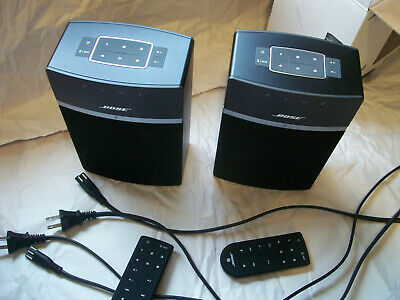 Bose  SoundTouch 10 Wireless Music System, 2 black speakers with remotes/cords