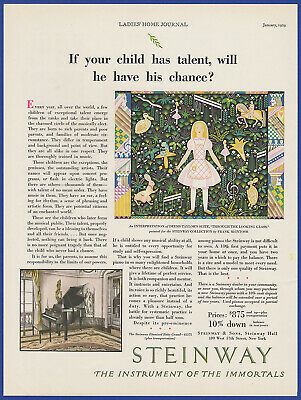 Vintage 1929 STEINWAY Piano Music Instrument Print Ad 20's