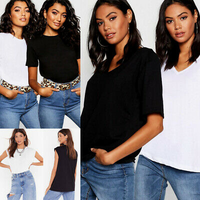 Donna Basic Jersey T-Shirt Donna Casual Aderente T-Shirt Top Basic Tee Canotta