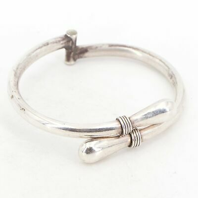 """VTG Sterling Silver - MEXICO EFS Wire Wrapped 7"""" Clamper Bangle Bracelet - 22g"""