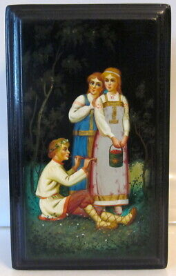 antique Fedoskino Russian black lacquer box w hand painted scene playing flute