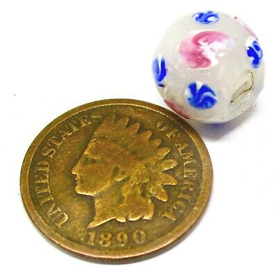 Sm Choice Antique Fancy Glass Trade Bead W/ Red-White & Blue-White Swirled Eyes