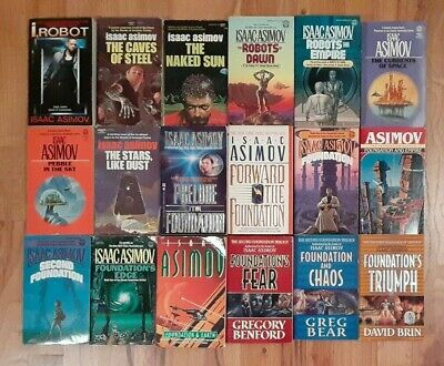 18 books lot Isaac Asimov Complete Robot Foundation Empire Second Foundation