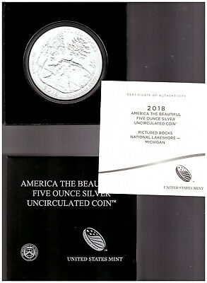US 2018 America The Beautiful Pictured Rocks NATIONAL PARK UNC 5 oz SILVER COIN