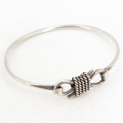 """VTG Sterling Silver - MEXICO TAXCO Wire Wrapped 7"""" Hook & Eye Bracelet - 15g"""