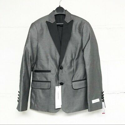 New With Tags Calvin Klein Size 16 Boys' Shiny Grey Blazer Jacket Orig 140