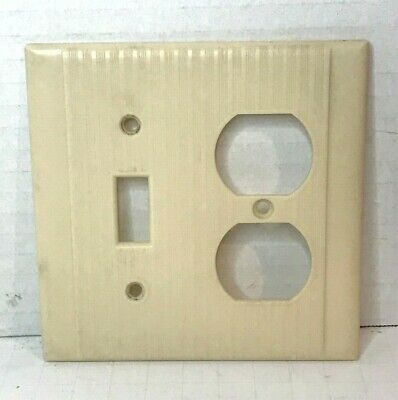 Vintage Ribbed Bakelite Sierra Two Gang Switch-Receptacle Combo Cover Plate