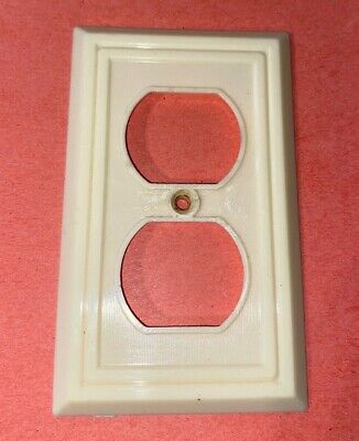 Vintage Bakelite Duplex Outlet Cover Wall Plate Ivory