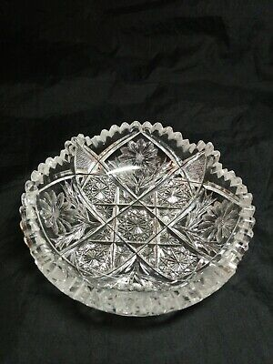 American Brilliant ABP Cut Crystal Glass Dish with Hobstar Cross & Daisy Pattern