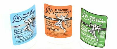 Mercury Adhesives - Thin, Medium, Thick Viscosity CA Glue