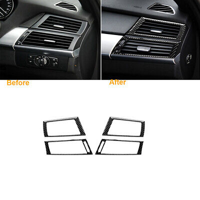 Carbon Fiber Dashboard Side Air Vent Outlet Cover For BMW X5 E70 X6 E71 2008-13