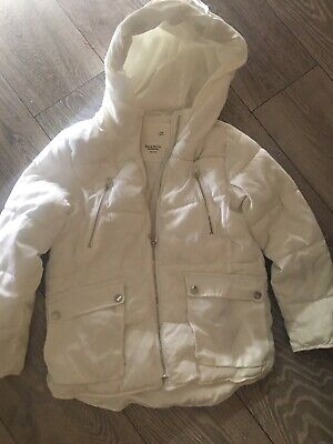 Girls Zara Winter White Hooded Puffa Jacket Coat Age 9 134cm Machine Washable