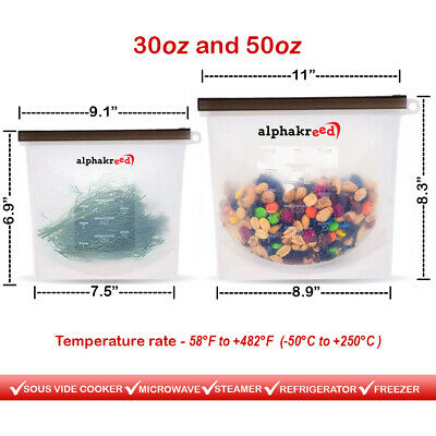 Reusable Silicone Food Storage Bags Container Bags for Lunch Vegetable Liquid...