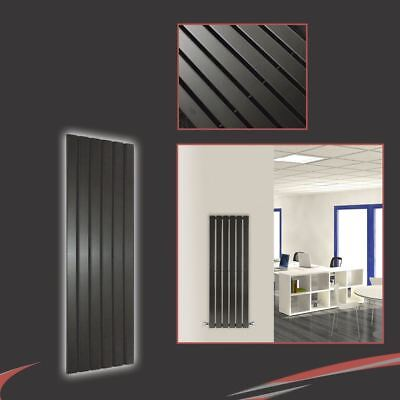 "440mm(w) x 1250mm(h) ""Corwen"" Vertical Black Radiator 2870 BTUs 6 Flat Panels"