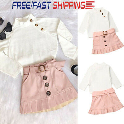 Toddler Kids Baby Girls Christmas Clothes Knitted Tops Skirt Dress Outfits 2Pcs