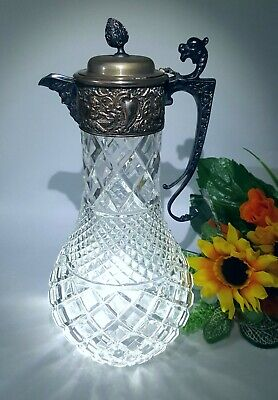 "Cut Glass And Silver Plate 12"" Wine or Claret Decanter. Beautifully detailed."