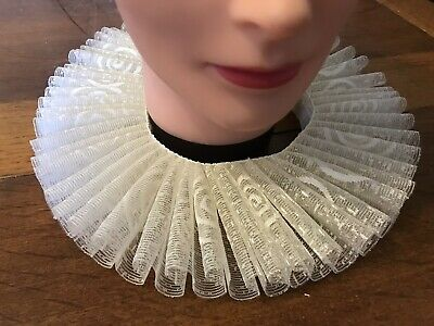Neck Ruff, Tudor, Medieval, Shakespeare Fancy Dress In Cream