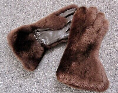 LADIES VINTAGE 1940s FUR & LEATHER GLOVES, SIZE L, 7.5-8