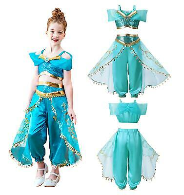 Girls Aladdin Costume Princess Jasmine Outfit Sequin Fancy Dress Cosplay JS071