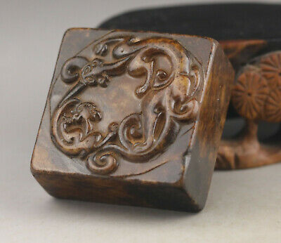 China old natural Jade hand-carved old dragon seal