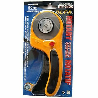 OLFA 60mm Deluxe Handle Rotary Cutter - RTY-3/DX -Ergonomic Deluxe Safety Design