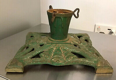 "ANTIQUE Green Ornate Cast Iron Christmas Tree Stand 8"" x 8"" Base BELL & CANDLE"