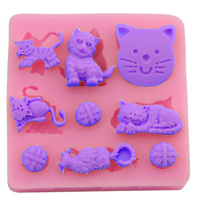 3D Cat Chocolate Candy Jelly Fondant Cake Tool Silicone Mold Baking Pan Bakeware