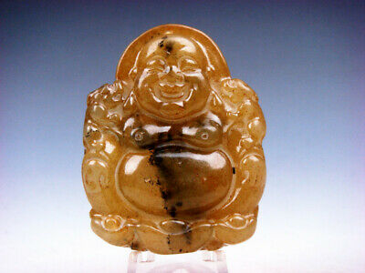 Old Nephrite Jade Carved Pendant Laughing Buddha & 2 Foo Dog Lions #12041905