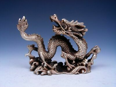 Vintage Solid Copper Crafted Sculpture Furious Curly Dragon Grabbing Pearl Ball
