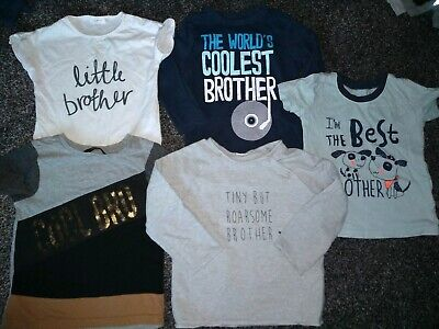 Baby boys bundle of 5 'brother' t-shirts & jumper 12-18 months
