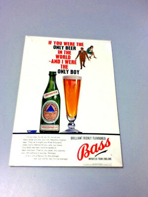 Bass ale beer sign tin TOC tin on carboard metal wall tacker vintage england old