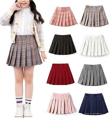 Girls Kids Children High Waist Pleated Zip Tennis Skater Mini Skirt Shorts JS072