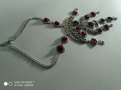 embroidery Antique Rare Palestinian Handmade Ancient Silver Pendant Necklace