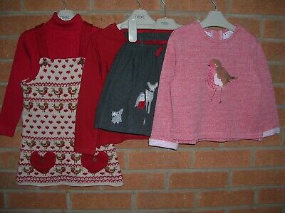 100% NEXT Girls Red Christmas Bundle Dress Tops Skirt Jumper Age 3-4 104cm