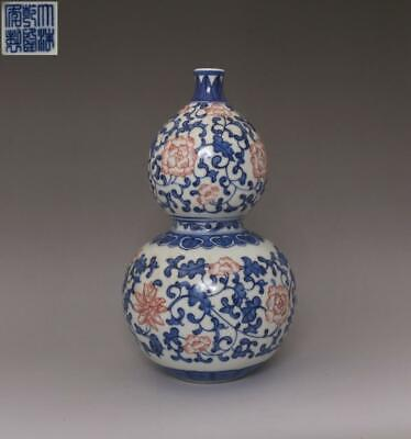 Rare Chinese Old Blue And White Porcelain Vase With Qianlong Marked (661)