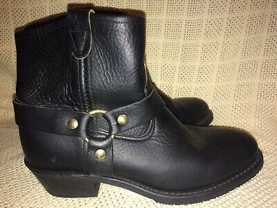 DOUBLE H COWBOY Leather Boots BLACK sz 6.5 M ring harness motorcycle moto
