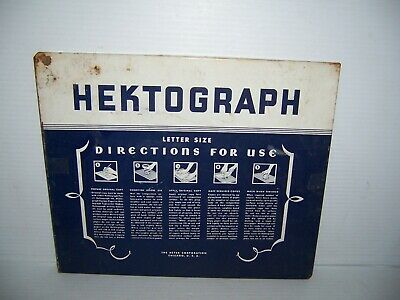 Vintage Hektograph Letter Size Directions Metal Cover Sign  Heyer Corporation