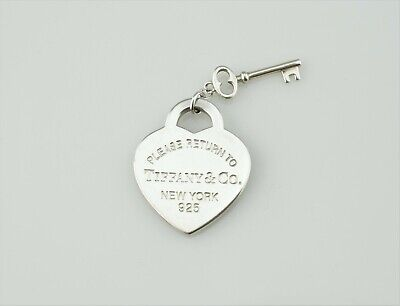 Tiffany & Co Sterling Silver Please Return to Heart Charm Tag Pendant with Key