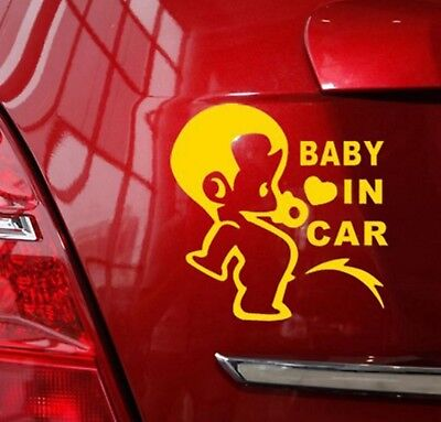 Car Exterior Baby in Car Safety Sticker on board 13x10cm stickers Decal Yellow