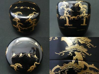 Japan Lacquer Wooden Tea caddy Pine trees Distant Mountain makie Natsume (1202)