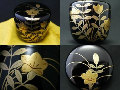 Japanese Traditional Lacquer Wooden Tea caddy BELL FLOWER makie Natsume (1126)
