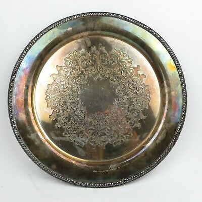 Vintage WM Rogers Silver Plated Round Community Plate or Tray Large 14.5""