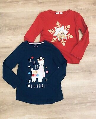 Girl Gap Christmas Red Filippy Sequin Snowflake, F&F Lama Navy Tshirt Size 4 Yrs