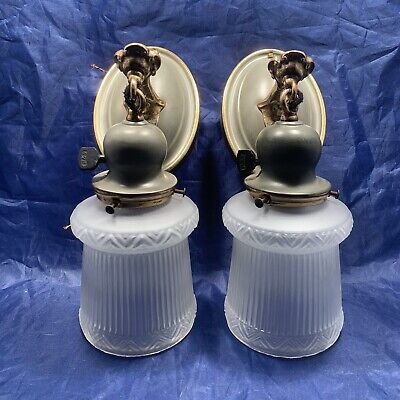 Antique Brass Original Finish Olive Green Art Deco Wall Sconces Pair 25B